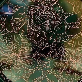 ★箱入り未使用!!直径24㎝・天然木の漆のお盆「高級美術漆器」★ − 山口県