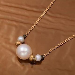 【ネット決済・配送可】K18 アコヤ真珠 ネックレス 品番0-108
