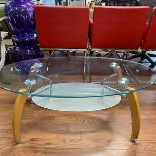ガラステーブル 楕円 棚付き ウッド調
