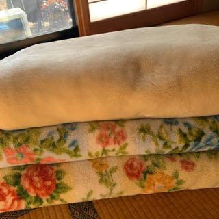 毛布 3枚 シングル クリーム/花柄 差し上げます。