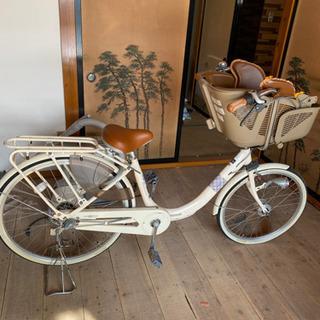 チャイルドシート付き変速可能自転車 18,000円、母子家庭優先...