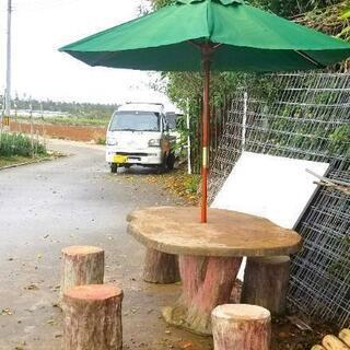 ガーデンテーブル、椅子、パラソルセット