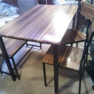 ☆中古 激安!! テーブルセット 椅子2脚、ベンチ付き! ダーク...