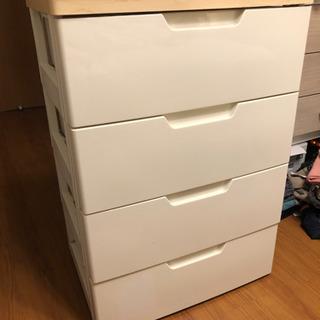 木製天板プラスチック衣装タンス★収納★4段★