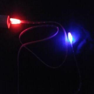 光るMicroUSB 充電ケーブル 1m ピンク(レインボ…