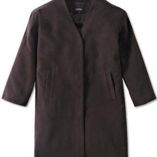 【新品】ダークブラウンノーカラーコートLサイズノーカラージャケット