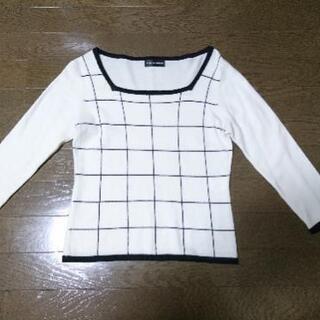美品 ニットスクエアネック七分袖セーター M