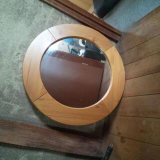【商談中】丸い鏡 直径約60cm 鏡径約45cm