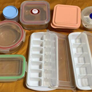 ガラス製タッパー 保存容器4個 プラスチック容器2個 製氷…