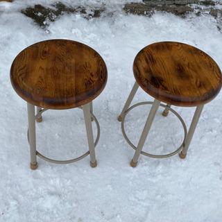 木目の綺麗な丸椅子 スツール チェア 高さ46cm − 北海道