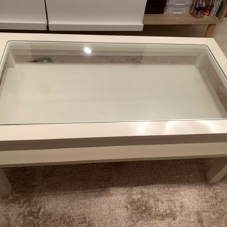 【ネット決済】モモナチュラル テーブル 白 ガラス