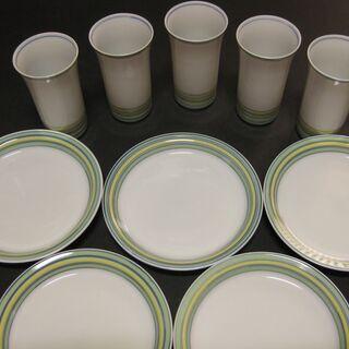京焼 西山窯 白磁 ぐい飲みと小皿5客セット 新品未使用