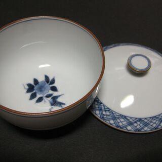 京焼 白磁 染め付け 蓋付き茶碗10客 新品未使用