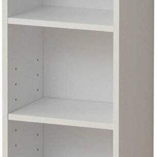 ちょっとスリムで収納しやすくシンプルな白い本棚
