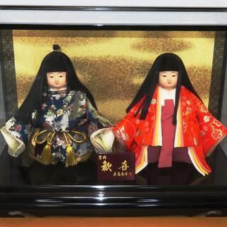「雛人形(市松人形  男・女)」平安春峰 作 ガラスケース入り