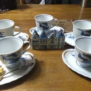 オランダ風のコーヒーカップ5客セットです。値下げしました。