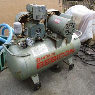 日立 ベビコン エアーコンプレッサー 業務用 0.4P-7T 家庭用100V電源仕様品 - 津市