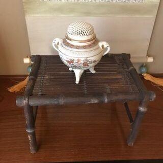 和室にぴったり黒竹製小物置台(割竹)