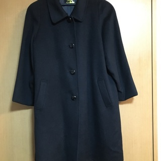 ウールコート 黒(フォーマルにも)取り外せるファーの襟付き
