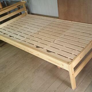 【中古】木製ベッド 本体のみ 2口コンセント付