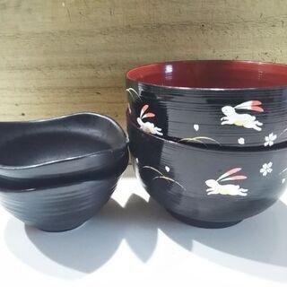 木製うさぎ柄どんぶりと陶器小鉢 2セット