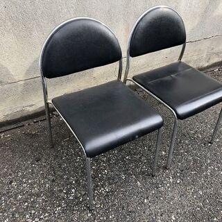 ★会議椅子★ スタッキングチェア 2脚セット 座面40cm角