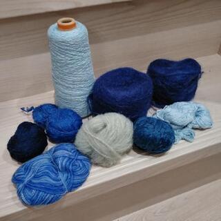 毛糸💙青色系の毛糸いろいろいっぱい💙ハンドメイド編み物