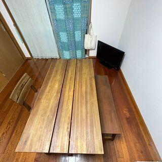 マホガニー材食卓セットテーブル ベンチ イス