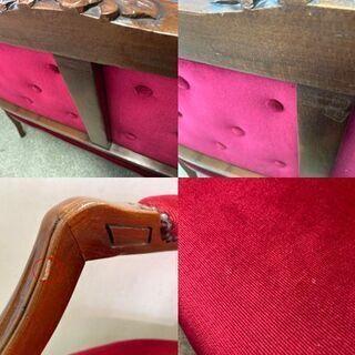 【良品】イタリア 高級 家具 ベンチチェア 2人掛けソファ 猫脚 モケット 鋲打ち 木製 レッド 【自社配送は札幌市内限定】倉庫保管 - 売ります・あげます