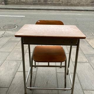学校机 イスセット レトロ 学童机 椅子 学習机
