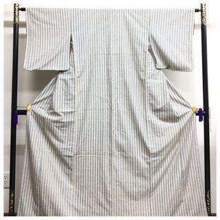 【ネット決済・配送可】 正絹 紬 ぜんまい紬 高級カジュアル 縞...