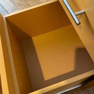 デスクサイド 木製キャビネット ワゴン 黄色 - 家具