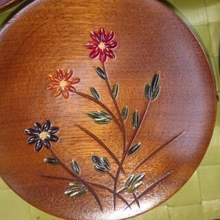 花柄 木のお皿 箱なし5枚