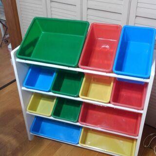 おもちゃ箱 ラック おもちゃ カラフル 3段