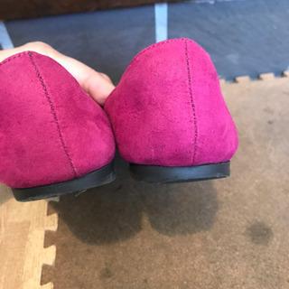 無料 濃ピンク フラットパンプス - 靴/バッグ