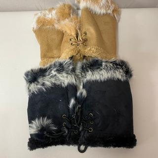 カワイイ 暖か手袋 2つセット 黒 ベージュ ラビットファー ア...