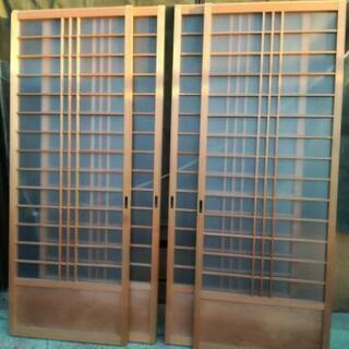 レトロなガラス戸 4枚セット 木製 古民家 建具 間仕切り 目隠...