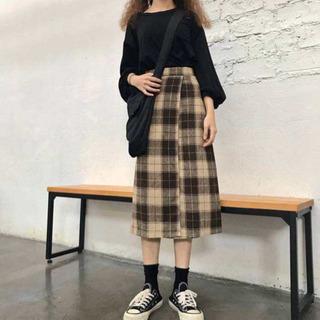 【ネット決済・配送可】新品タグ付き チェックラップスカート 膝丈