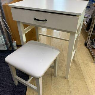 椅子付き 机型ドレッサー ドレッサー 白 化粧台 収納 ミラー ...