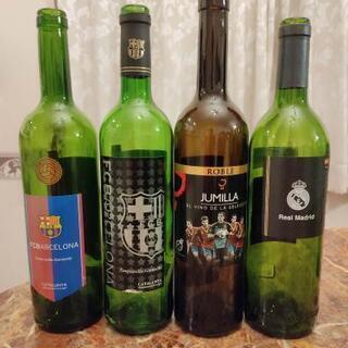 バルセロナ公認ワインの空き瓶 7本+レアル・マドリード公認…
