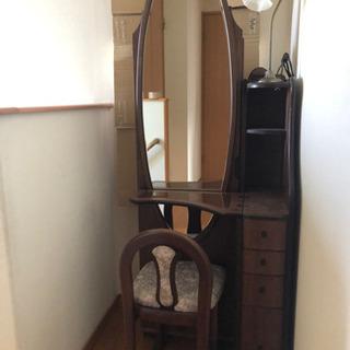 ⭐︎楕円姿鏡付き化粧台⭐︎ダークブラウン色の鏡台☆