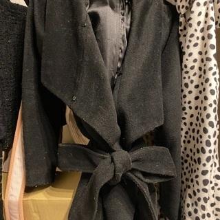 コート シンプル ベルト 黒 ブラック