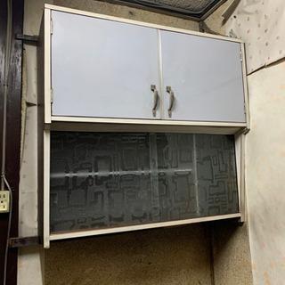 【取り外し済み】つり戸棚 キッチン 昭和レトロ 収納ケース 衣装ケース