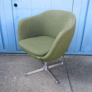 1人用チェア グリーン 回転椅子