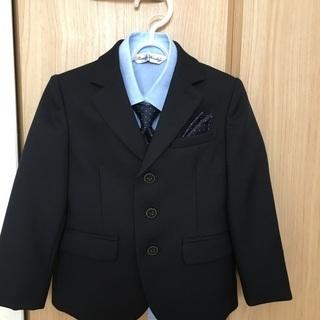 【美品】【100】こども、スーツ、フォーマル、濃紺、4点セット、...