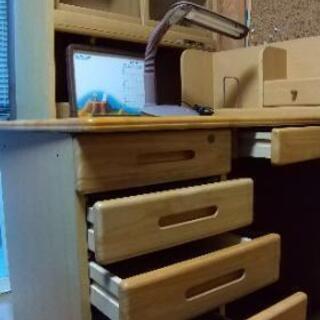 🌸本棚付学習机、独立します。くろがね製。