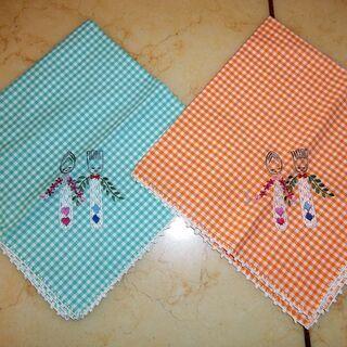 スプーン&フォークの手刺繍のナフキン2枚セット