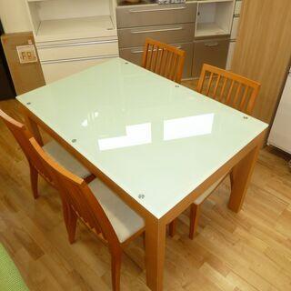 k153☆伸長ダイニングテーブル5点セット☆テーブル+椅子4脚☆...
