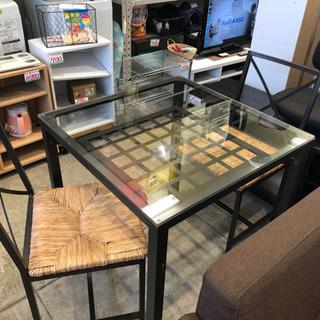 アイアンフレーム ガラス天板 2人 ダイニングセット カフェ テーブル