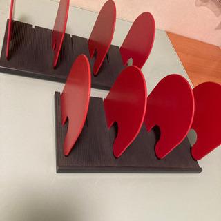 稼働式 ブックエンド 赤×黒 ブックスタンド 仕切板可動式